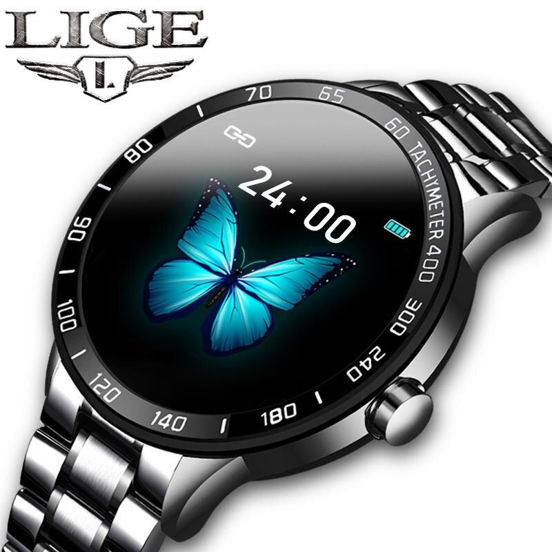 LIGE Смарт часы для мужчин фитнес трекер IP67 Водонепроницаемый сердечный ритм кровяное давление шагомер для Android ios спортивные Смарт часы + коробка|Смарт-часы|   | АлиЭкспресс