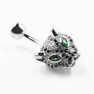 Image 3 - 925 sterling silver belly button anel moda leopardo estilo umbigo piercing jóias do corpo para o presente
