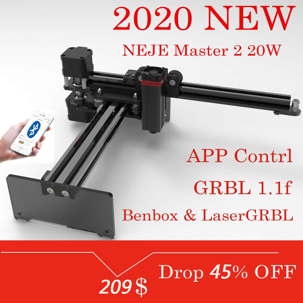 2020 NEJE Master 2 20W Desktop Laser Engraver And Cutter - 170 X 170mm - Engraving Max Deepth 3mm - Cutting Max 8mm
