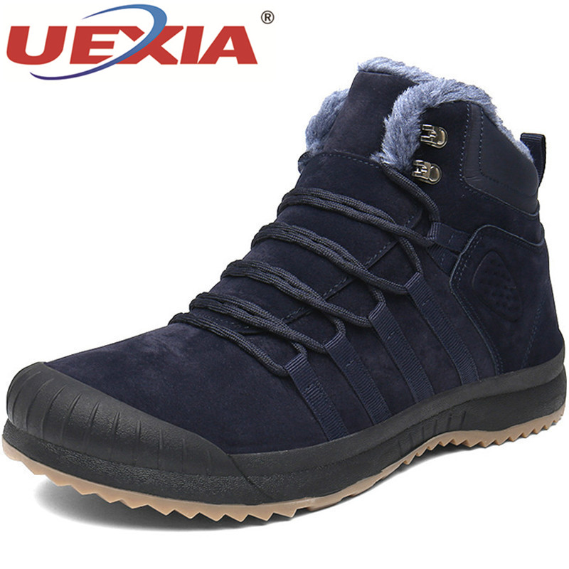 UEXIA -25 Degree Celsius Warm Boots Outdoor Suede Leather Casual Winter With Fur Snow Collision Toe Men Shoes Sneakers Footwear