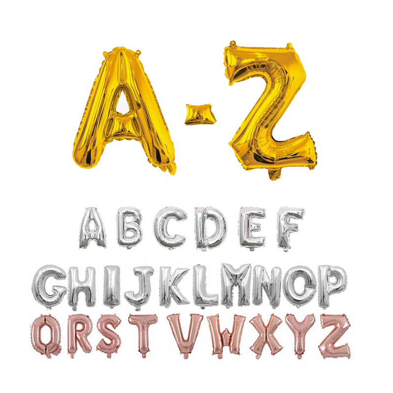 16 32 40 Inch Happy Birthday Party Decoration Balloons Foil Letter Alphabet Name Balloon Wedding Baby Shower Helium Air Balls