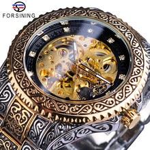 Forsining Men Mechanical Wristwatches Fashion Diamond Automatic Watches Golden Black Skeleton Wrist Watch Luxury Zegarek Męski