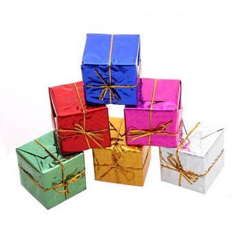 30!12PC Christmas Tree Ornaments Small Gift Bag Pendant Sparkling Laser Xmas Tree Gift Hanging Box Decoration Fashion image