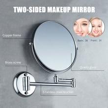 Зеркало для макияжа настенное 1X/3X увеличительное зеркало для макияжа складное поворотное двухстороннее зеркало для ванной комнаты Парикмахерская санузел