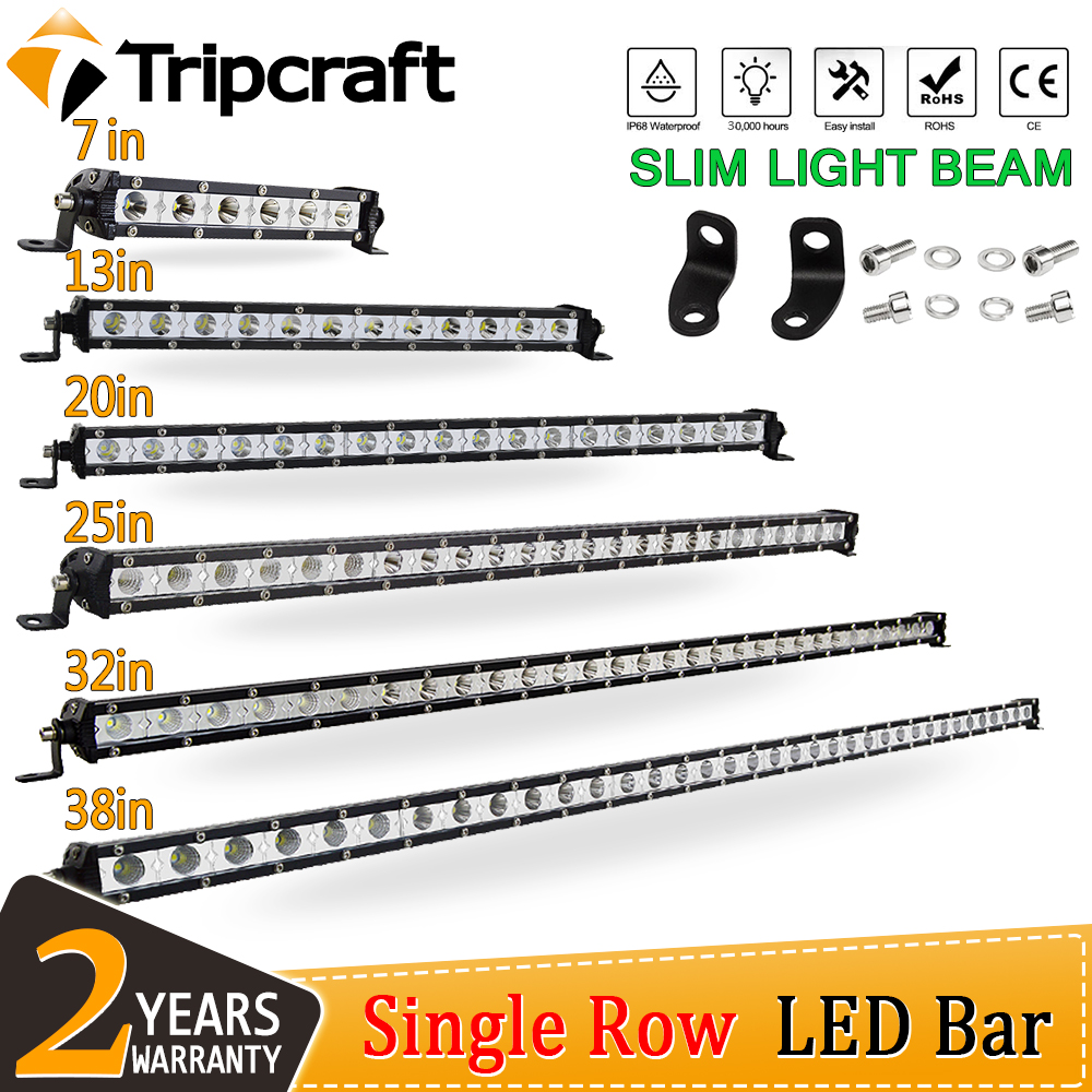 "Tripcraft Single Row 7"" 13"" 20"" 25"" 32"" 38'' inch Slim LED Light Bar 90W 120W 150W 180W For SUV 4X4 Off Road LED Work Light bar"