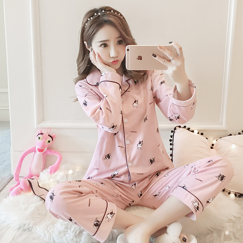 Women's Sleepwear Little Dog Pattern Nightclothes Classic Long Sleeve Sleepwear Breathable Nightgown Comfy Pink Pajamas Set