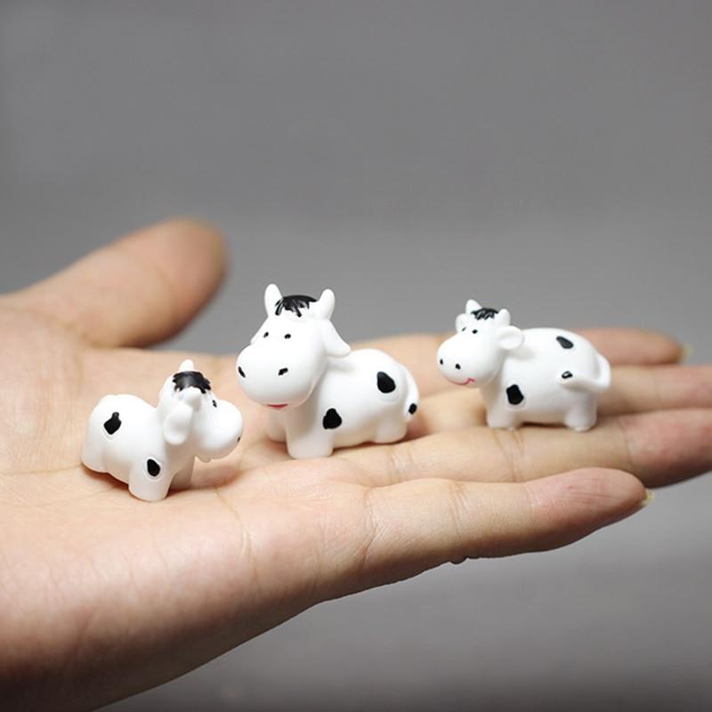 3 pces/vaca/coelhos/gatos/decoração da casa de boneca/miniaturas fantasia/jardim de fadas gnome/musgo terrário/artesanato/bonsai/estatueta/suprimentos diy