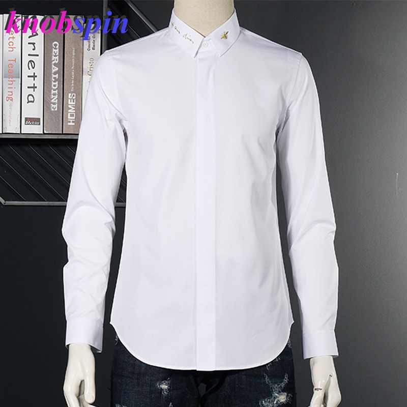 Brand Bee Embroidery Collar Shirt Men Simple Design Long Sleeve Slim Chemise Social Camisas Plus Size Casual Cotton Shirts M-2XL