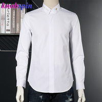 Brand Bee Embroidery Collar Shirt men Simple design Long sleeve Slim Chemise social Camisas Plus size Casual Cotton Shirts M 2XL