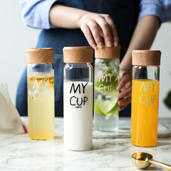 300ml Glass Water Bottle with Tea Filtration Wood Grain PP Lid Summer Fruit Juice Milk Bottle Student Portable Drink Cup 3