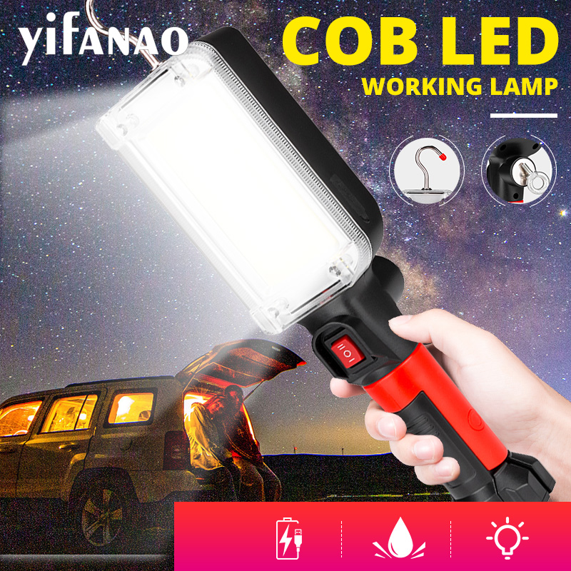 LED Work Light COB Floodlight Rechargeable Maintenance Lamp Use 2*18650 Battery LED Portable Magnetic Light Hook Clip Waterproof