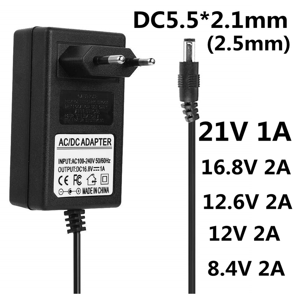 <font><b>AC</b></font> DC Liion Battery electrical <font><b>tools</b></font> Charger 16.8V 21V 8.4V 12.6 12V Charger DC 5.5*2.1MM 18650 Charger IP camera CCTV Charger image