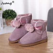 Girls Boots Shoes Kids Genuine-Leather Fashion Children Warm Lace-Up JXANG Winter Hair-Ball
