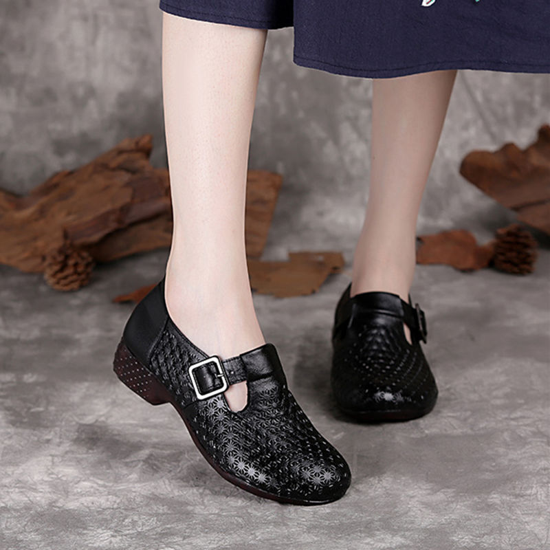 Ladies Flats Black Genuine Leather Shoes For Women's Spring/autumn Flats Round Toe Consice Lazy Casual Shoes