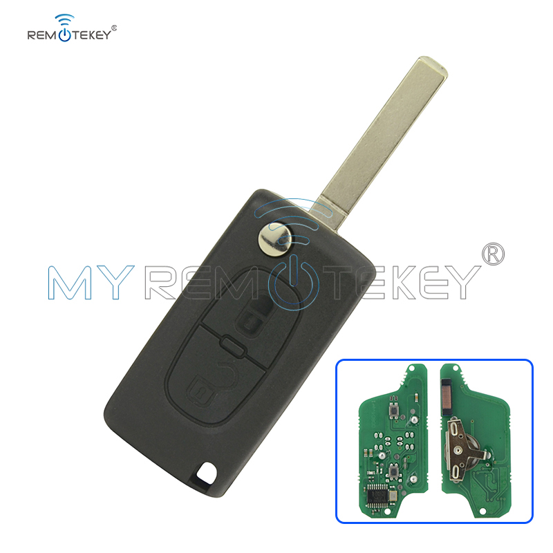 CE0523 Flip dálkový klíč do auta 2 tlačítko pro Peugeot pro Citroen ASK 433 mhz ID46 - Remtekey PCF7941 VA2