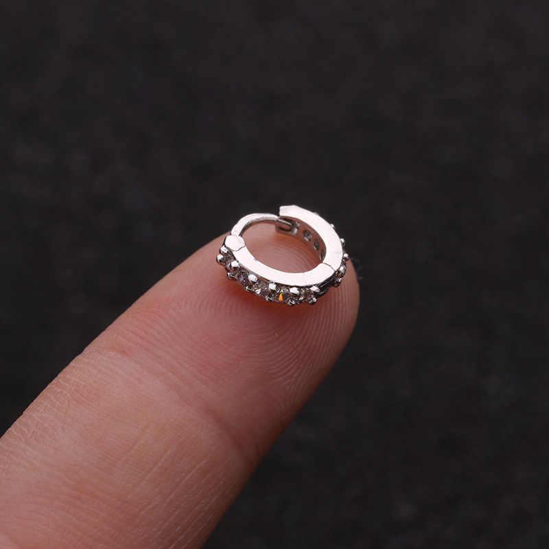 1 pc 6-10mm prata e cor de ouro tone cz hélice cartilagem aro brinco tragus rook confortável orelha piercing jóias