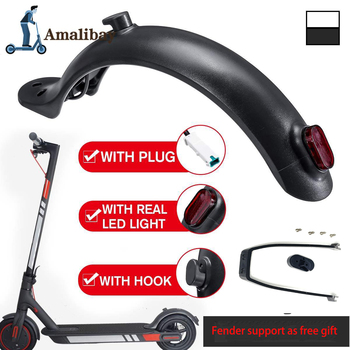 Durable Scooter Mudguard for Xiaomi Mijia M365 M187 Pro Electric Scooter Tire Splash Fender with Rear Taillight Back Guard Wing 1 set scooter rear back fender mudguard screws rubber cap electric screw plug cover for xiaomi mijia m365 electric scooter parts