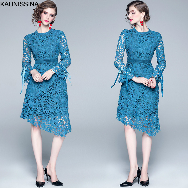 KAUNISSINA Knee Length Cocktail Dresses Lake Blue Scoop Neck Full Sleeve Hollow Out Lace Cocktail Dress Party Prom Robe