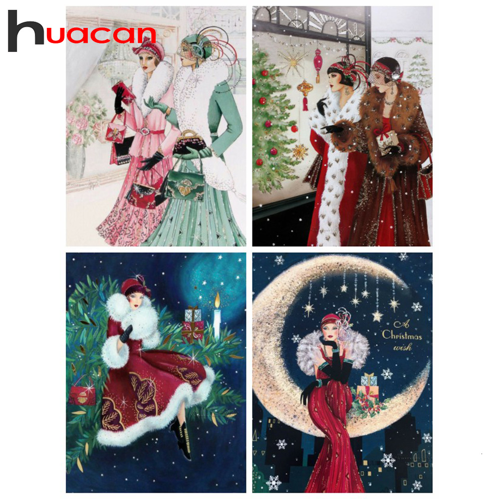 Huacan Diamond Painting Beauty Decoration Home Embroidery Full Display Lady Picture Of Rhinestones Mosaic Girl Diamond Art