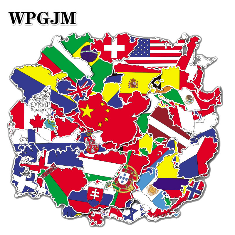 50 Pcs/set National Flags Stickers Kids Countyies Map Travel Stickers For Moto Car Suitcase Notebook Guitar Skateboard Stickers