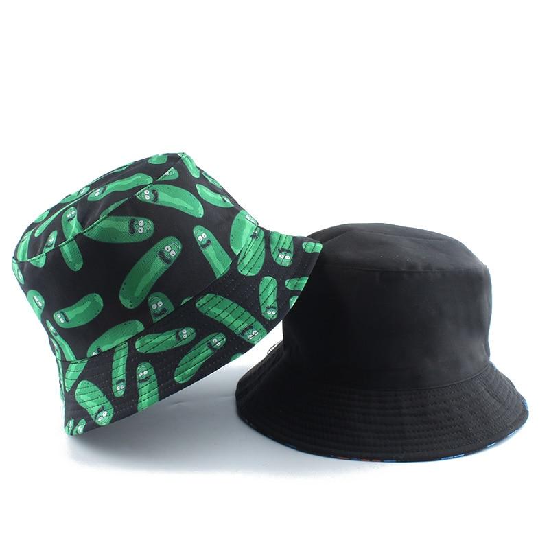 2020 New Funny Anime Cartoon Bucket Hat Reversible Fisherman Hat Unisex Street Hip Hop Flat Cap Fishing Bob Hat