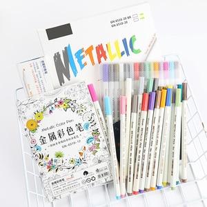 Image 2 - 10 Stks/set Metallic Marker Pen Art Marker Kleurrijke Leuke Plastic Levert Briefpapier Scrapbooking Ambachten