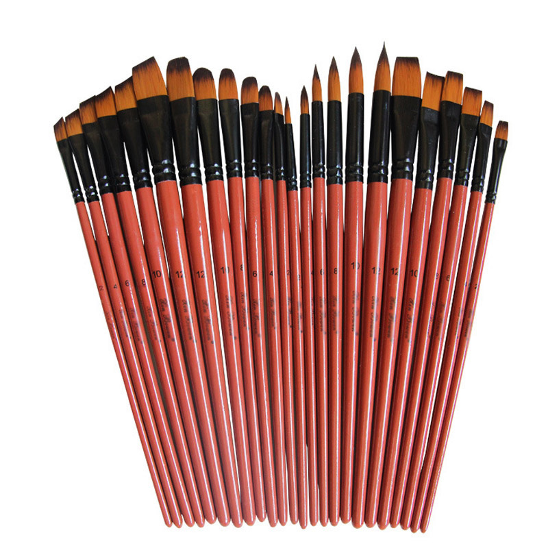 6pcs / Set Nylon Hair Material Pen Brushes Brown Penholder Artist Paint Brushes Set Painting Craft Oil Watercolour Accessories