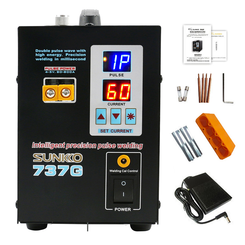 SUNKKO 737G Spot Welder 1.5KW Double Pulse Intelligent Precision Welding Machine 18650 Lithium Battery Welding Mini Spot Welders