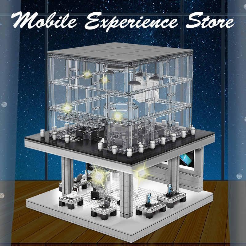 SEMBO creatore serie Apple Store modello Building Blocks City Street View figure luminose a LED mattoni telefono classico giocattolo per bambini