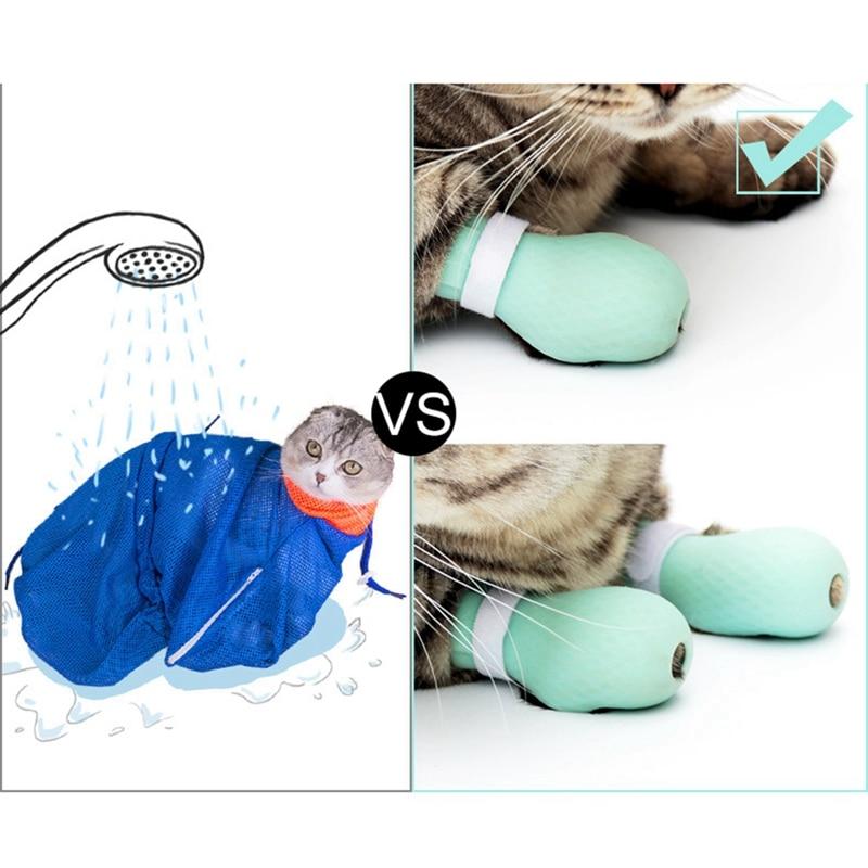 Wash Cat Feet Cat Bath Supplies Artifact Nail Clippers Bath Bag Anti-scratch Bite Wash Cat Bag Adjustable Paw ProtectorCM