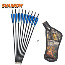 6 Pcs Crossbow Carbon Arrows 16 17 18 20 22 Lightweight Bolt Fletched 4 Inch Vane with Replaced Arrow Quiver
