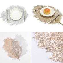 Placemat For Dining Table Coasters Lotus Leaf Palm Leaf Simulation Plant PVC Cup Coffee Table Mats For Home Decorative Table Pad(China)