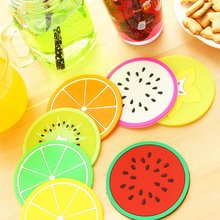 Colorful jelly fruit shape coaster silicone cup mat Creative non-slip insulation