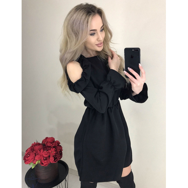 2019 Autumn Women Solid Ruffle Mini Dress Sexy Off Shoulder Long Sleeve Elastic Waist Dress Women Casual A Line Party Dresses 4