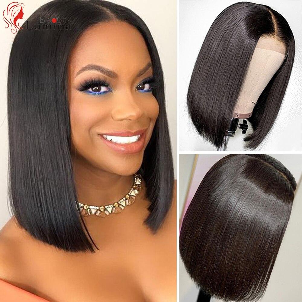 2x6 peruca de bob curto pré arrancado fechamento do laço peruca brasileira curto em linha reta virgem peruca de cabelo humano 180% densidade 10 14 14 Polegada
