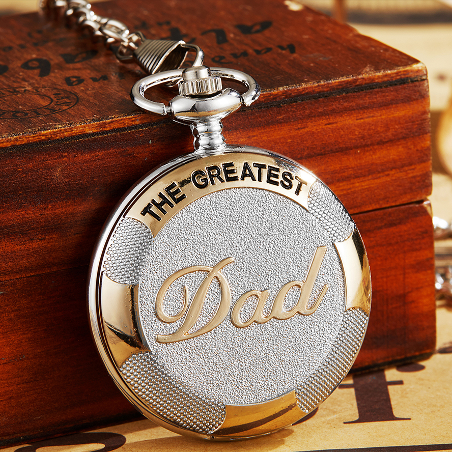 Vintage Silver Golden Luxury THE GREATEST DAD Quartz Pocket Watch Fob Chain Necklace Men's Fathers Gifts Clock Relogio De Bolso