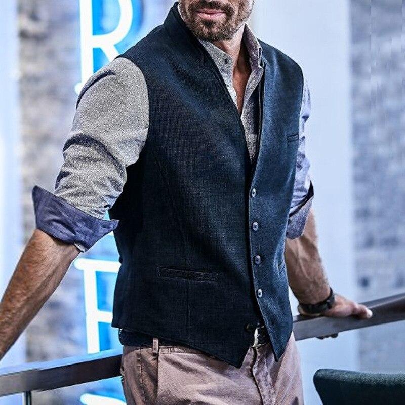 Men's Slim Fit Herringbone Tweed Suits Vest Wool Blend Waistcoat Stylish Single Breasted Notch Lapel Vest Coat