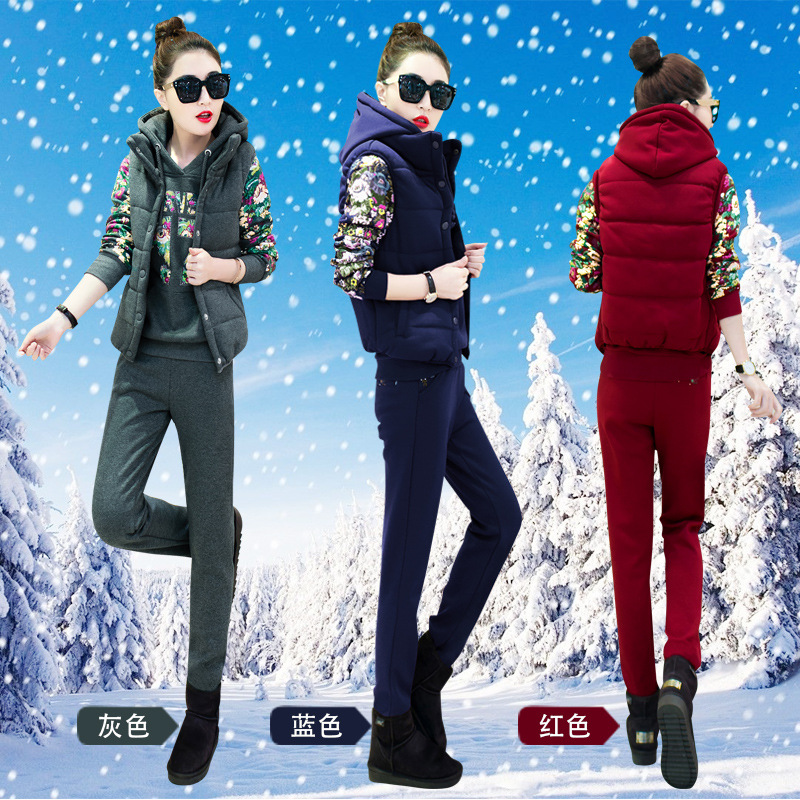 New Style Thick Plus Velvet Hoodie Women's Three-piece Set Autumn And Winter Fashion Hooded Printed Sports Set Sports Clothing