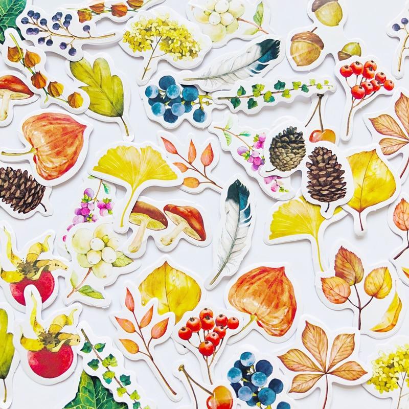 46 Pcs /Box Autumm Leaf Mushrooms Paper Decoration Sticker DIY Album Diary Label Sticker