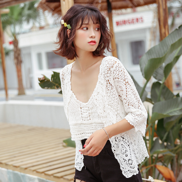 Boho chic hollow out crochet lace tops women fashion kawaii half sleeve summer cardigan 5