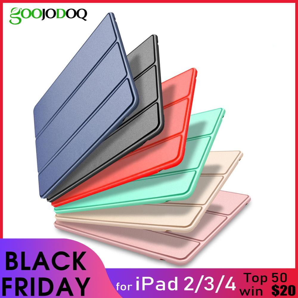 Case for iPad 2 3 4 Case Silicone Soft Back Folio Stand with Auto Sleep/Wake Up PU Leather