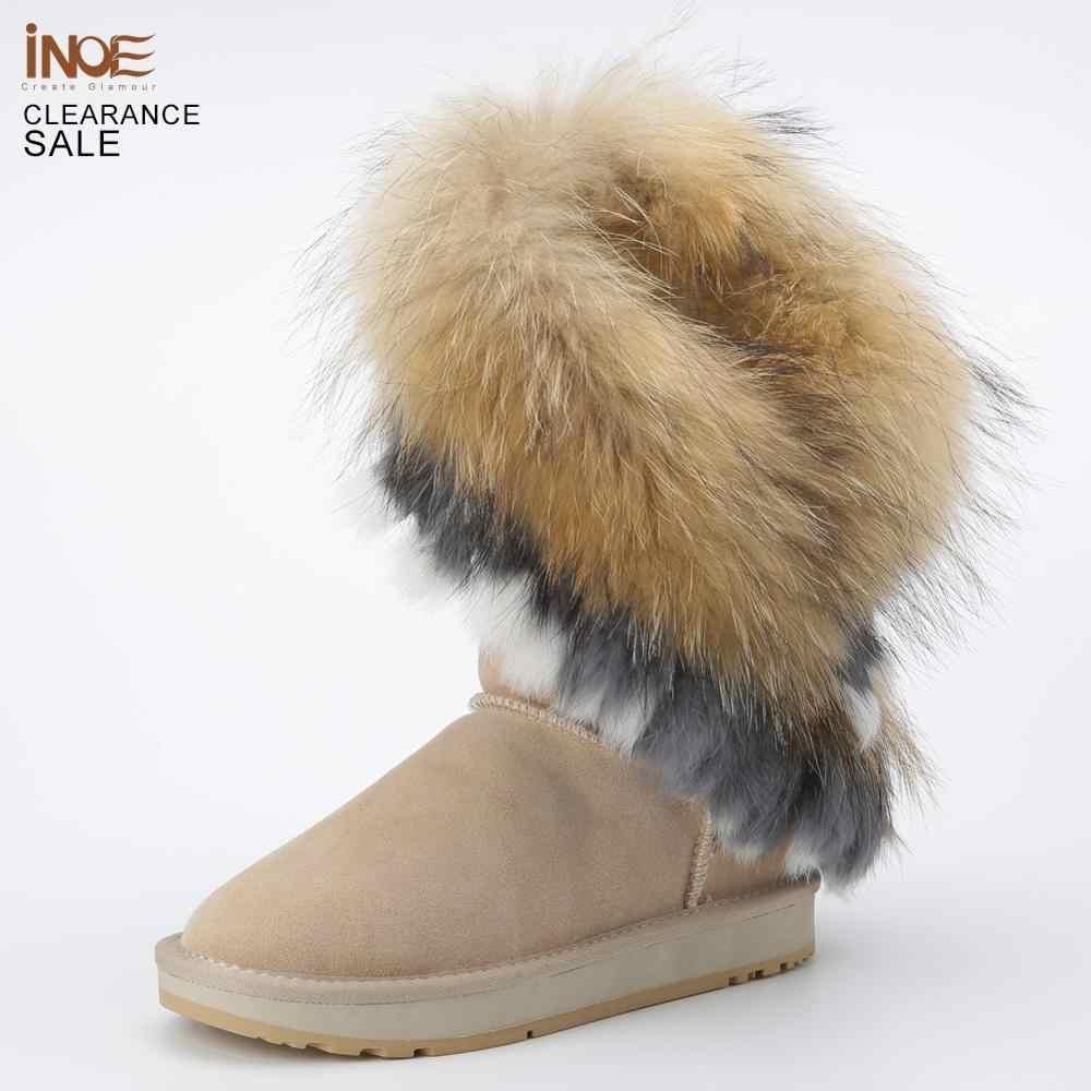 INOE moda inek süet deri doğal Fox kürk kadın kış botları yüksek kaliteli kar botları tasfiye satışı büyük indirim kum renkli