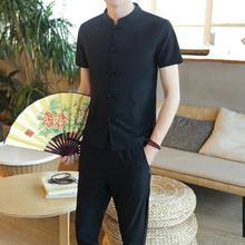 2 Pieces/Sets Mens Shirts +Pants Social Linen for Men Summer Loose Short sleeve Blouse New