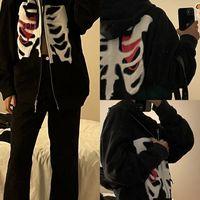 Zip-up Y2K Harajuku gótico Sudadera con capucha de las mujeres cráneo impreso Goth Grunge capa superior suelto coreano de manga larga Mujer chaqueta