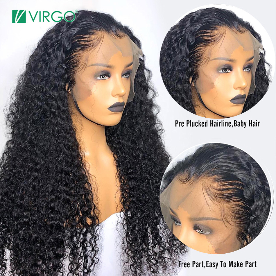 Brazilian Jerry Curl Wig Curly Lace Front Human Hair Wig Pre Plucked With Baby Hair 13X4 Lace Front Wig For Black Women Remy