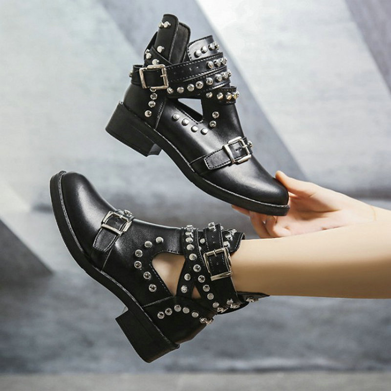 Women Ankle Boots Women's Fashion Rivet Shoes Woman Leather Buckle Strap Ladies Chunky Heels Female Punk Rome Footwear
