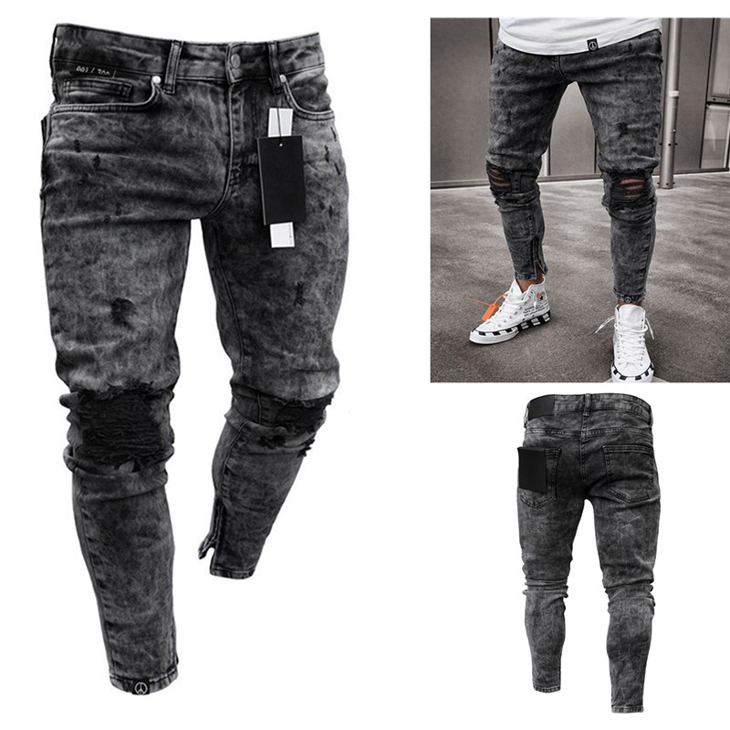 Feitong Cotton Jeans Men Spring 2020 Men Clothes Denim Pants Distressed Freyed Slim Fit Casual Trousers Stretch Ripped Jeans