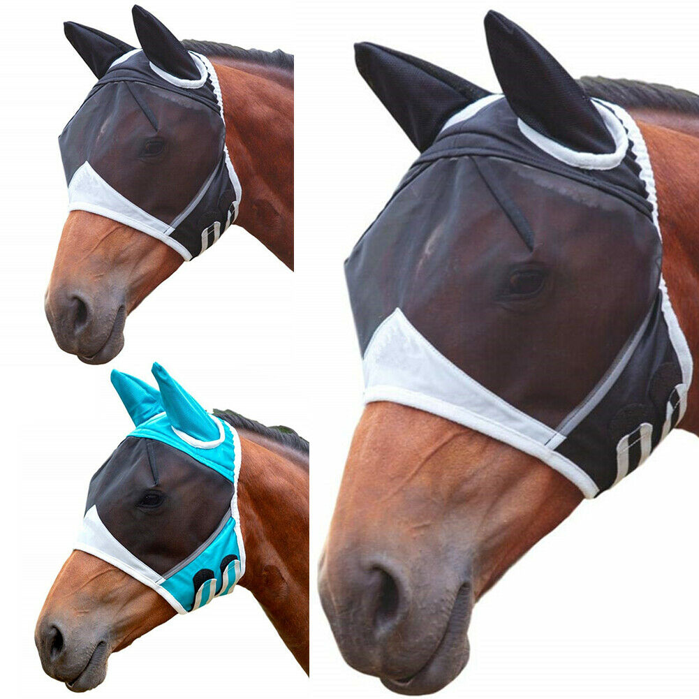 Horse Anti-Moquito Masks Mesh Veil Hood Eye Ear Mask Protective Cover