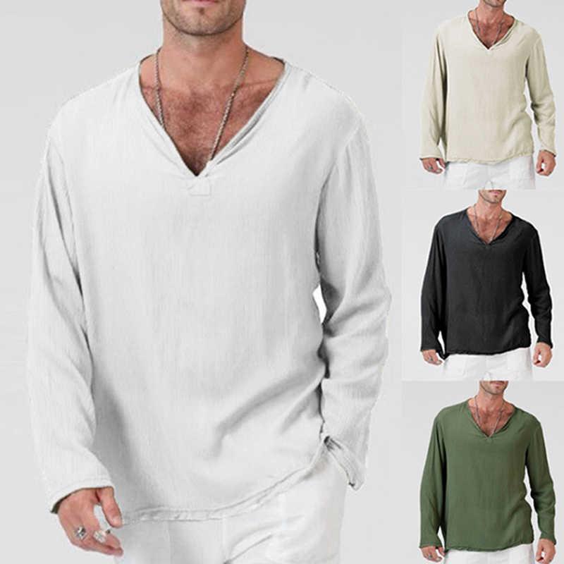 Pria V Neck T Shirt Penuh Lengan Katun Linen Lengan Panjang T-shirt Pria Gothic Hippie Longgar Pakaian Pria T Shirt musim Semi Musim Gugur