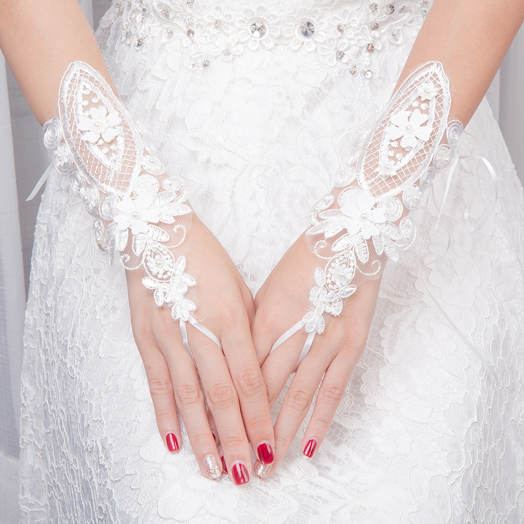 OLLYMURS Bride Appliqued Printed Fingerless  Leaky Refers To Adult Lace Gloves Beaded Decoration Wedding Accessories